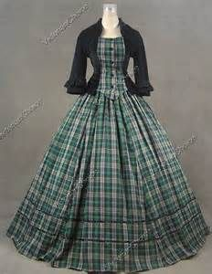 Civil War Victorian Tartan Velvet Ball Gown Day Dress Prom 160 M