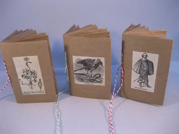 3 mini journals made from small brown paper bags with Vintage Dictionary illustration