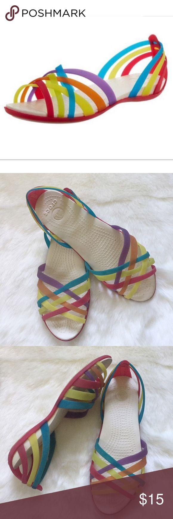 Selling this Crocs Huarache Flats Rainbow Sandals on Poshmark! My username is: davias_closet. #shopmycloset #poshmark #fashion #shopping #style #forsale #CROCS #Shoes