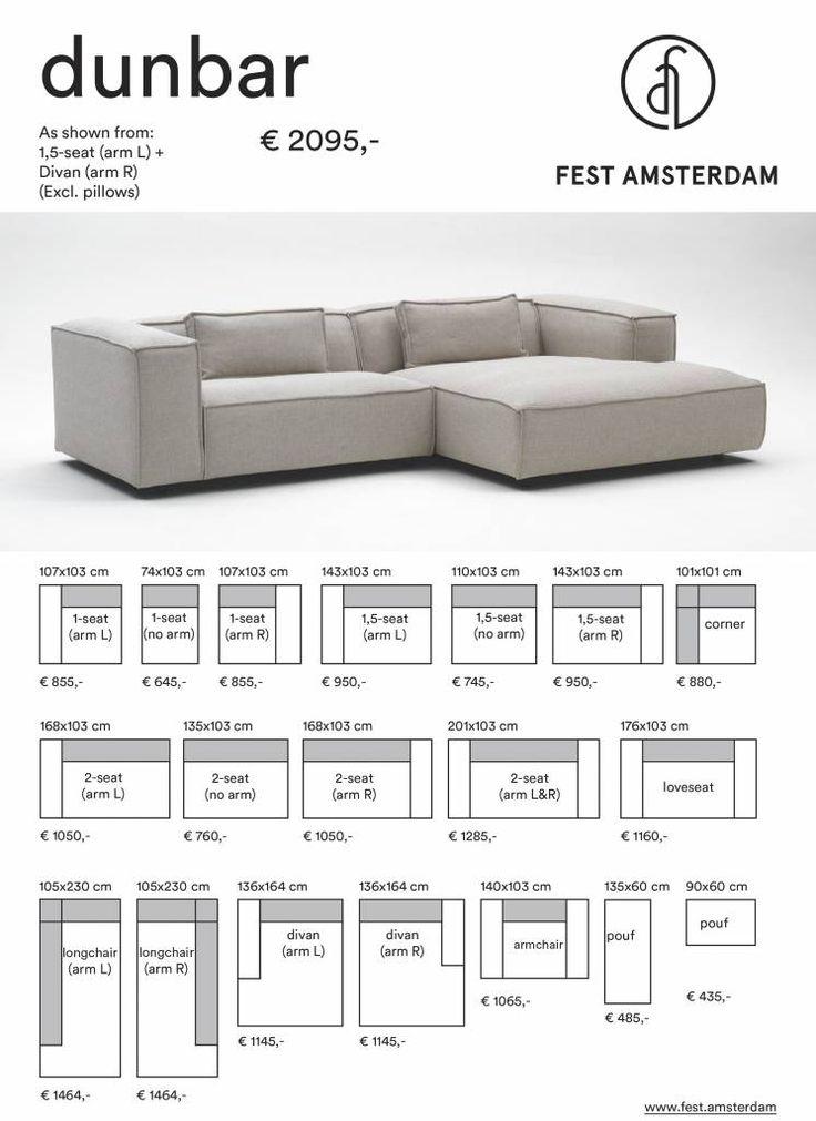 Hippe modulaire loungebank Dunbar van het Nederlandse merk FEST Amsterdam. Door de vele leverbare kleuren helemaal naar wens samen te stellen en zeer comfortabel! Keuze uit diverse stofsoorten en modules.