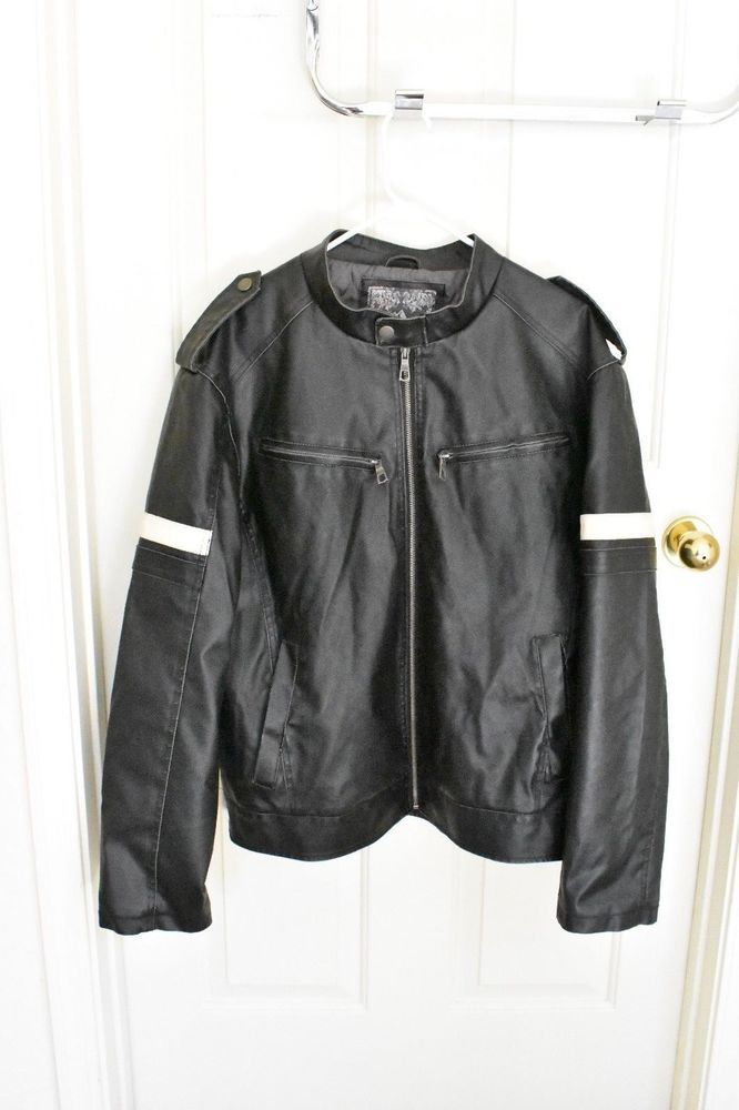 c2f38a216 Details about Whispering Smith Mens XL Faux Leather Jacket Black ...