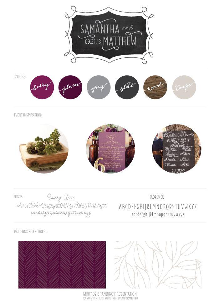 Chalkboard Inspired Wedding Branding // Mint 102 Design - plum, slate, wood