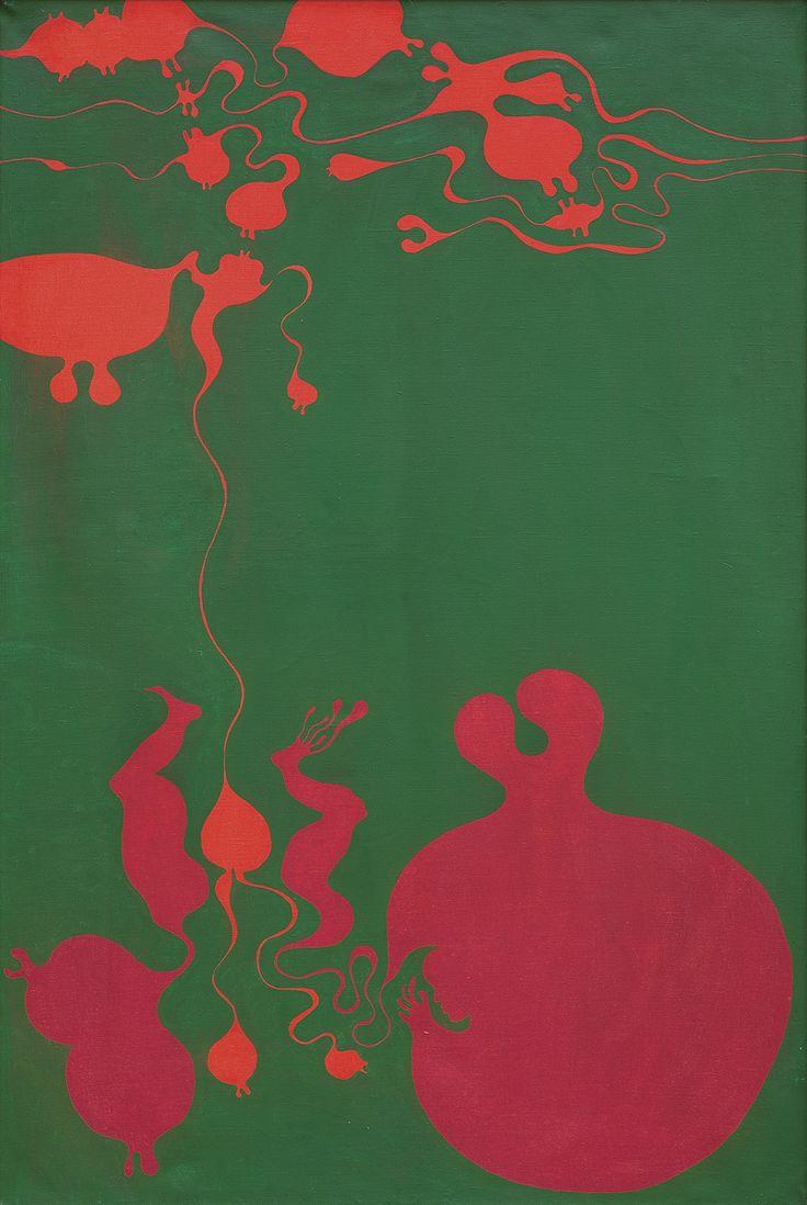 Jan Dobkowski   <i>ZARODEK, 1970</i>   akryl, płótno   136 x 89 cm