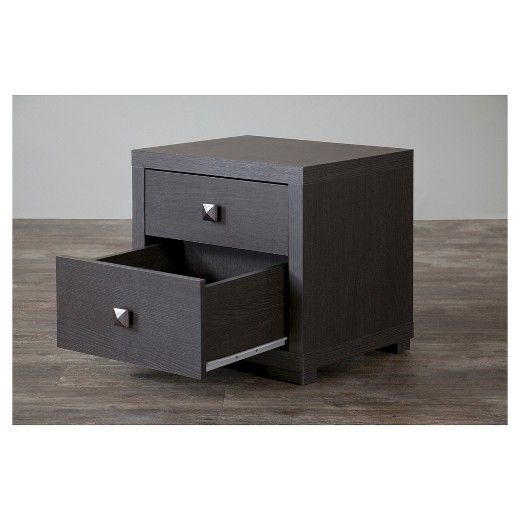 """""""Perk up"""" your bedroom set with our contemporary Espresso Nightstand—Silvertone. Featuring eye-grabbing silvertone drawer pulls, its dual drawers provide plenty of room for all those little items. An espresso-toned faux wood-grain paper veneer and non-marking feet distinguish it from other discount bedroom-furniture items."""