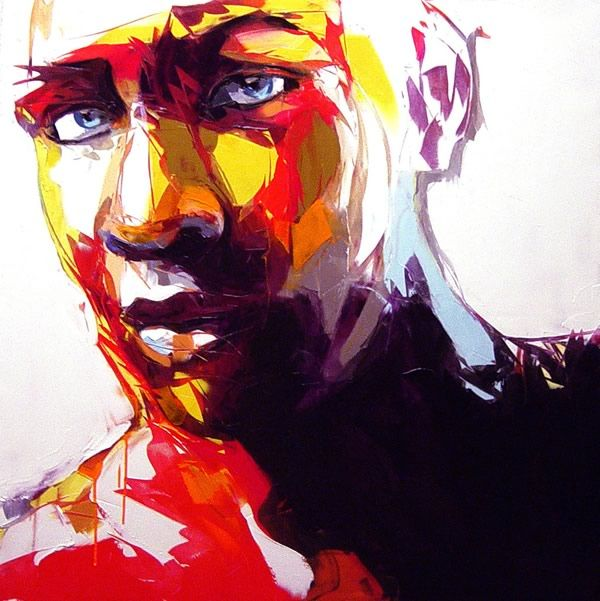 Francoise Nielly - Explosive Colorful Portraits Paintings