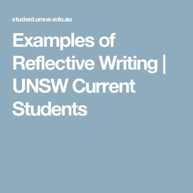 Examples of Reflective Writing | UNSW Current Students