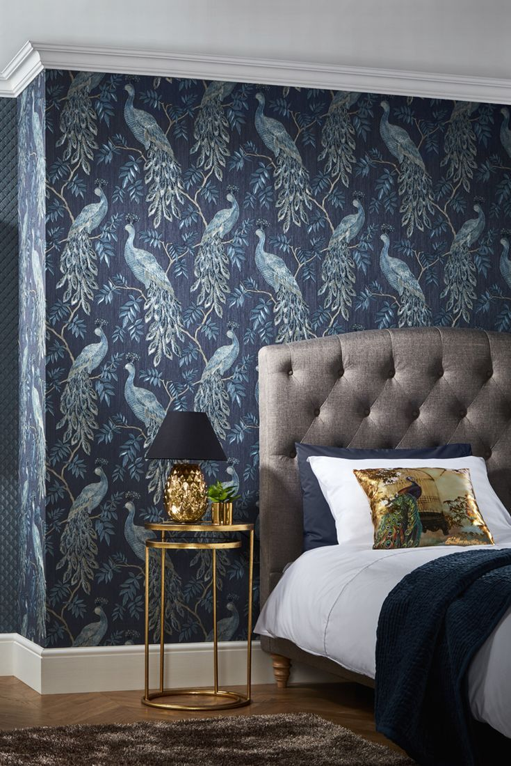 Bedroom Peacock Wallpaper Design By Arthouse Called Lazzaro.