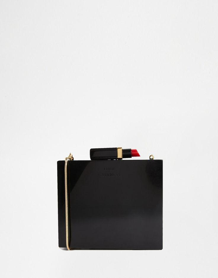 Lulu Guinness Chloe Square Clutch Bag #box #clutch #lipstick #black #schwarz