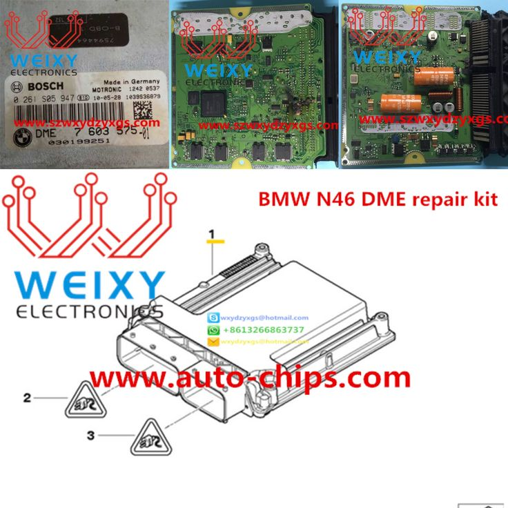The failure rate of the new type BMW N46 DME is very high, the failure symptoms are: electronic throttle failure; misfire failure, BSD failure; no communication failure etc.  This repair kit is dedicated to help you solve these problems, and bring you considerable profit, one kit is enough to repair 5 pcs DME, get it by click of: http://www.auto-chips.com/bmw-new-type-n46-dme-repair-kit_p1618.html