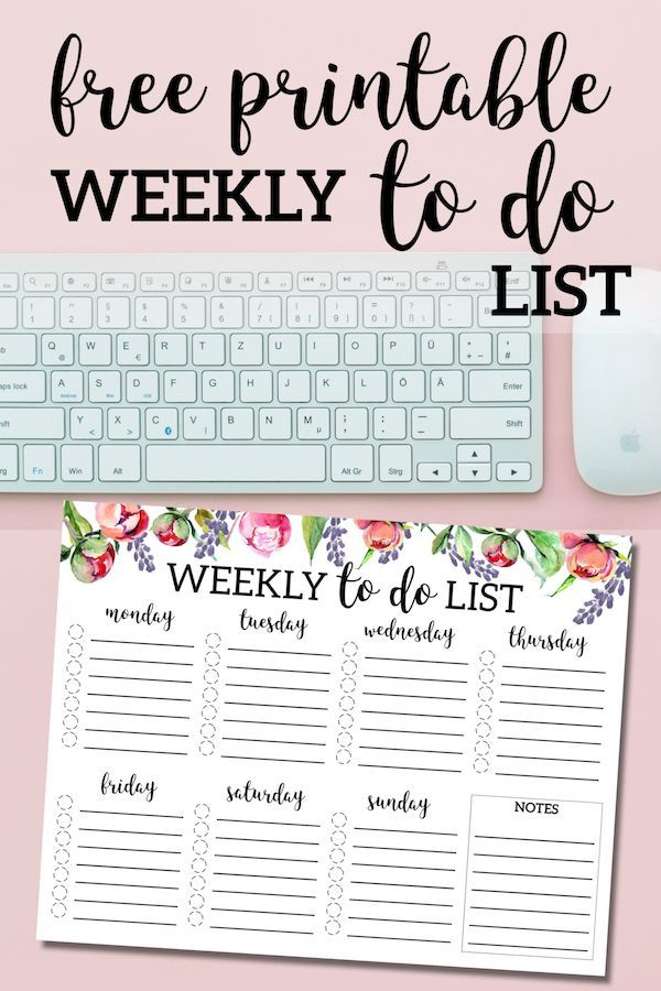 Floral Weekly To Do List Printable Checklist Template Free