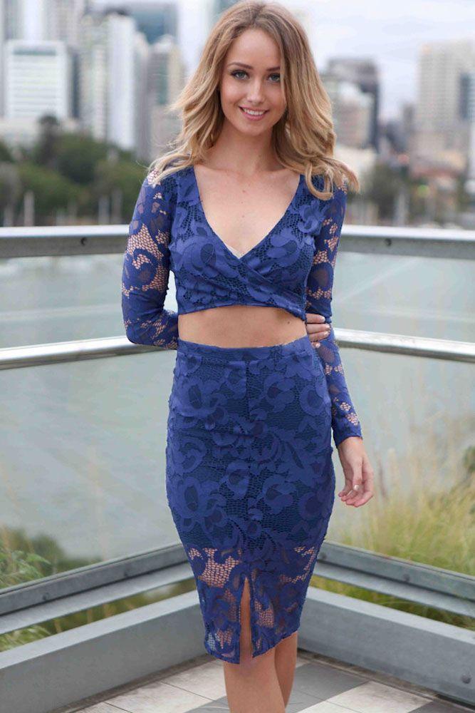 2pcs Blue Flower Lace Long Sleeves Skirt Set