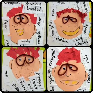 Choose a book character, glue adjectives word cards to describe him all around a student-made face! Add a writing sample and wha-la! Character/Adjectives/Ideas writing lesson. Soaring Through Second Grade: We've Got the Wiggles