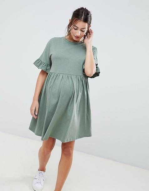 d6e6e45c6171c ASOS DESIGN Maternity cotton slubby frill sleeve smock dress ...