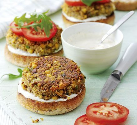 Mushroom & chickpea burgers from BBC Good Food - hopefully the sun will still be shining for the Bank Holiday weekend and we might manage our first bbq of the year! These will be on the menu at 217 calories per serving.