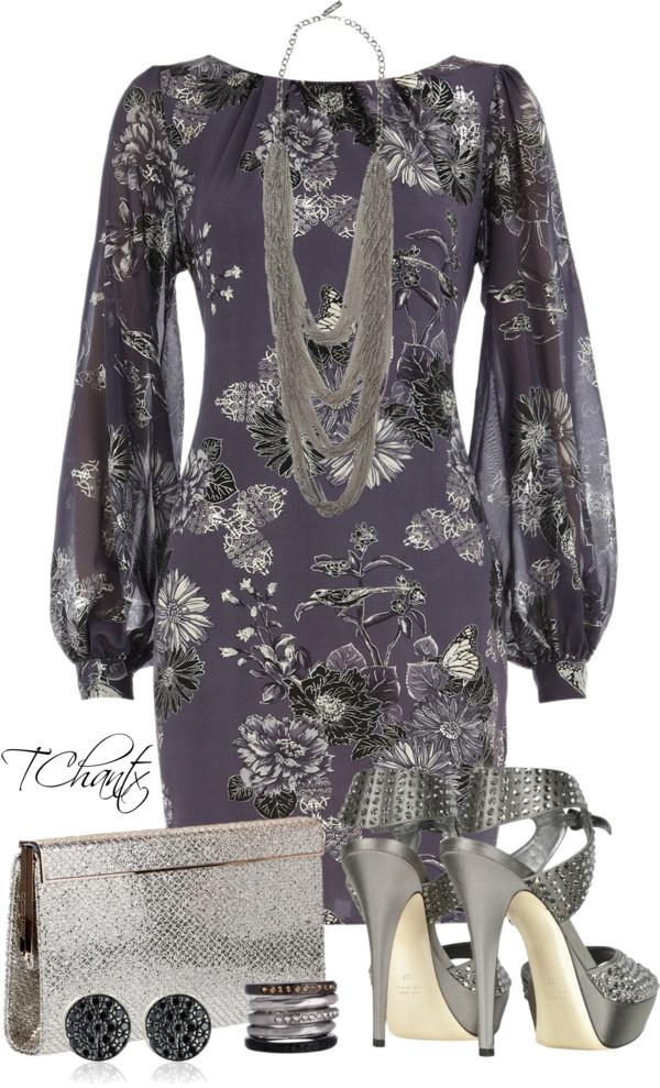 """Loriblu Jeweled Dark Gray Satin Sandal"" by tchantx on Polyvore"