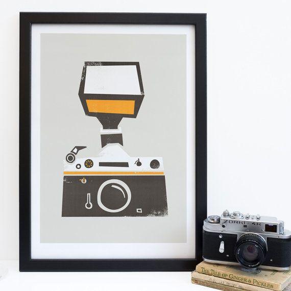 Retro Film Camera Print, Mid Century Modern Style, Gift for Camera Geeks, I Shoot Film, SLR, Photographers Kit, Artwork Photography Lovers