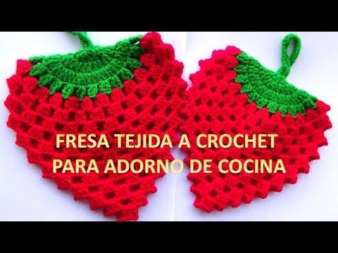 So beautiful!!!FRESA A CROCHET N° 4 paso a paso para agarraderas de ollas o adorno de cocina - YouTube