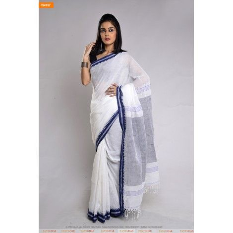 WHITE LINEN MATKA SAREE WITH BLACK AANCHAL-FS4157