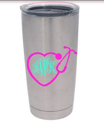 Monogram yeti cup decal for nurses by redandthepug on etsy