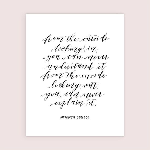 Meredith College Calligraphy Art Print 8x10 From The by HappyTines