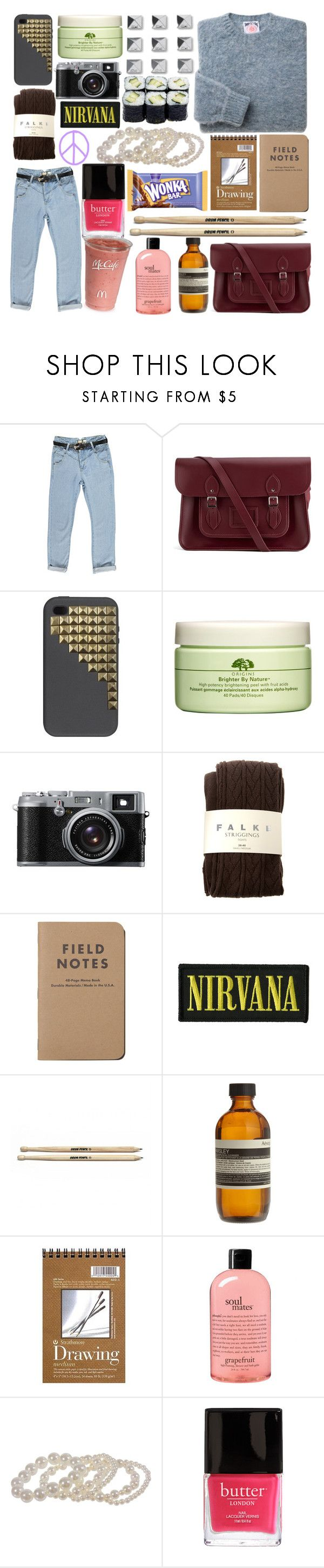 """smells like teen spirit"" by paper-towns ❤ liked on Polyvore featuring Boohoo, The Cambridge Satchel Company, Fashion Lab, Origins, Dakine, John Lewis, Falke, FRUIT, Aesop and philosophy"