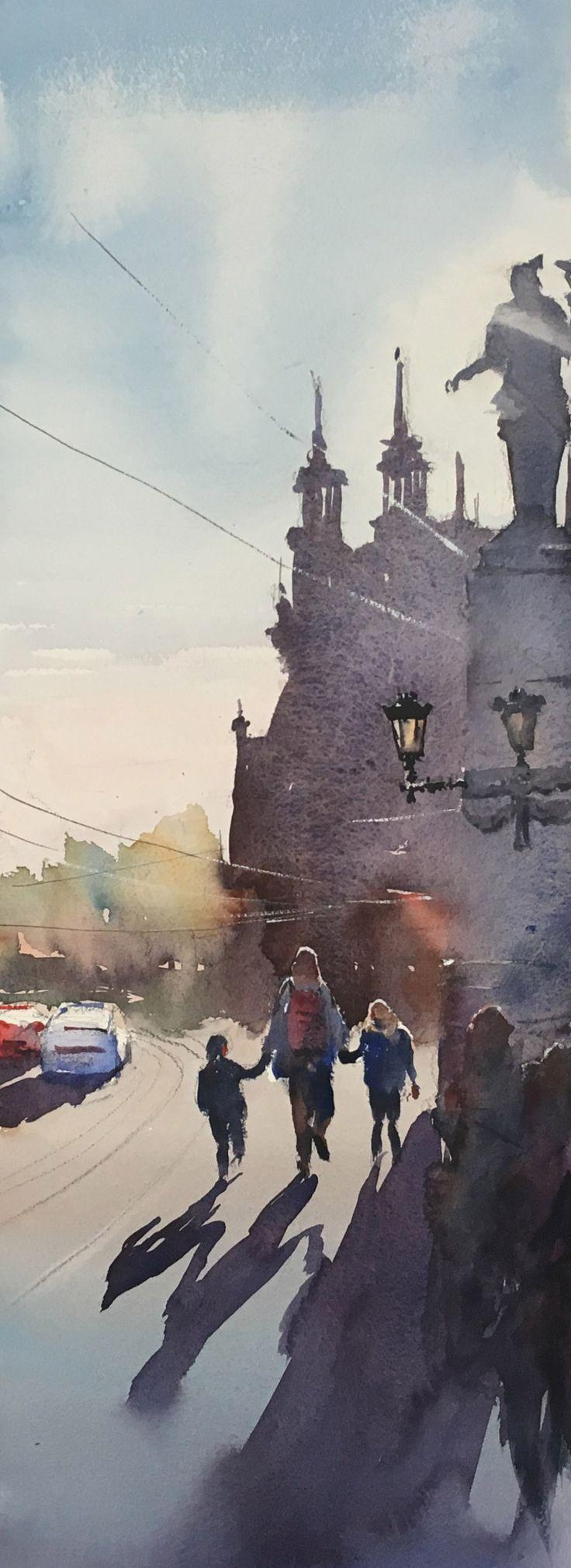 Djurgårdsbron, Watercolor, Stefan Gadnell