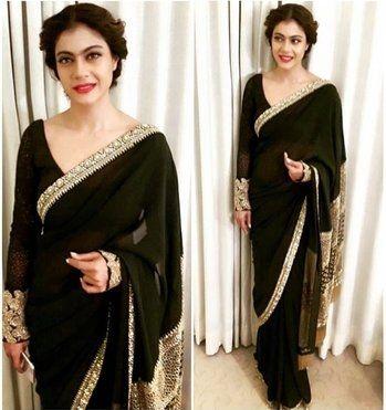 Kajol in classic #sabyasachi saree in kolkata.! #black #love