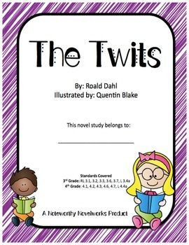 "They're ugly, mean, and they sure do have it coming! Roald Dahl's ""The Twits"" tells the hilarious (and kind of disgusting) tale of two horrid people, Mr. and Mrs. Twit. This novel study, with CCSS aligned questions covering 7 different reading sections (and a pre-reading journal and post-reading theme analysis), guides students through this enjoyable story using rigorous questioning and vocabulary skill builders!"