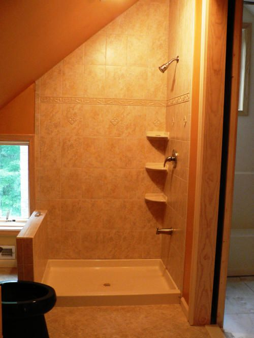 This shower is totally ugly, but I like the way the shape uses the attic space.