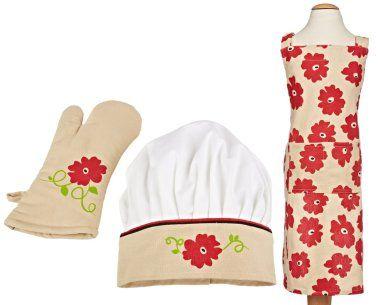 Kids Chef Hat Apron Set Red Poppy Apron Hat and Mitt