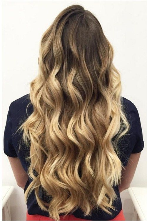 long hair with brown to blonde ombre