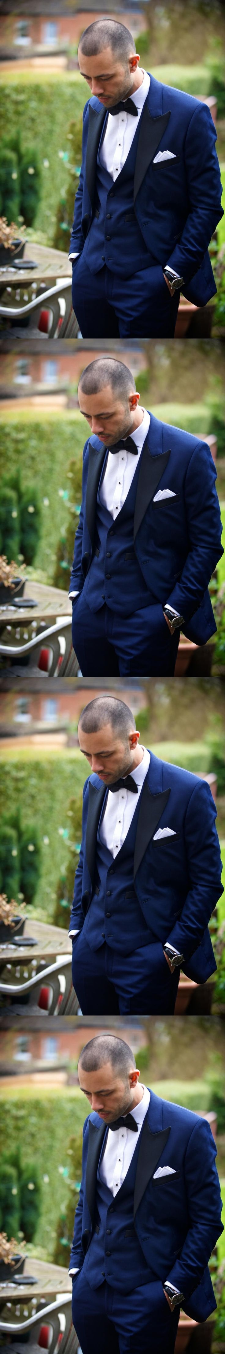 2017 Peaked Lapel Tuxedos Groomsmen Suits Royal Blue Wedding Suits For Men One Button Men Suits Handsome Party Prom Tuxedo