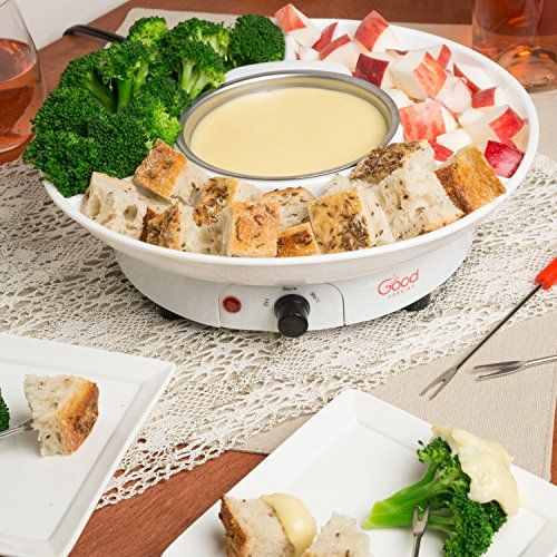 Chocolate Fondue Maker- Deluxe Electric Dessert Fountain Fondue Pot Set with 4 Forks and Serving Tray: Makes velvety smooth chocolate or cheese fondue for your next party, get-together or snack. Just melt chocolate or cheese in the pot, turn on the warming function, and enjoy. Four included skewers make serving easy, and the fondue