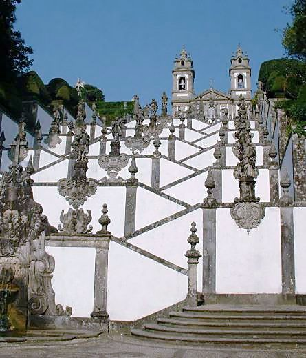 Bom Jesus do Monte Stairway The stairway that climbs the 16 metres (381 feet) up the wooded hillside to the church of Bom Jesus do Monte in Tenões, just outside Braga.   For the truly devout the stairs are taken, with the last few flights climbed on the knees. The alternative is to take the hydraulic funicular that was built in 1882!