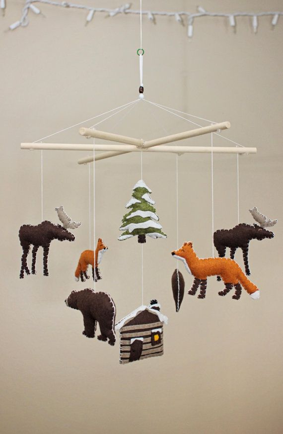 Winter Forest Animals / Camping / Woodsy / Rustic - Baby Mobile