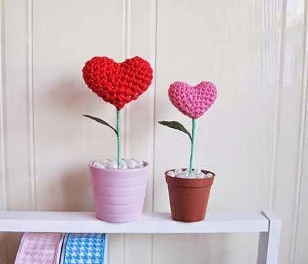 Valentine Heart Plants ~ Amigurumi crochet patterns ~ K and J Dolls / K and J Publishing