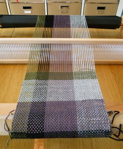 Plaid Woven Scarf - On the loom