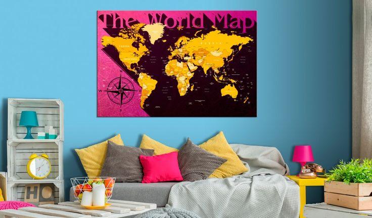 Cherchez-vous une décoration murale pratique ? Misez sur la carte du monde aux couleurs intenses pour la décoration de votre salon ou de la chambre de votre enfant  #tableau #tableaux #cartedumonde #continents #décorationpratique #science #designmoderne #bimago