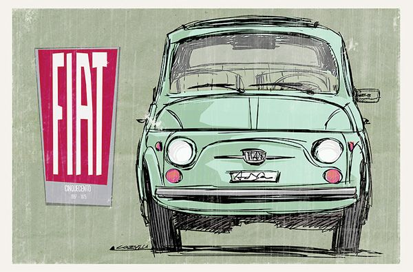 Framed wall art artwork addition or gift for a contemporary or traditional decor. For sale on print, poster, or canvas. An illustration of the Fiat 500 inspired by the vintage advertising style of the fifties.