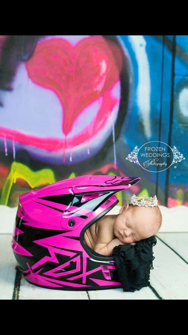 Too cute! Baby in dirt bike helmet, for boy or girl. daddy would love this