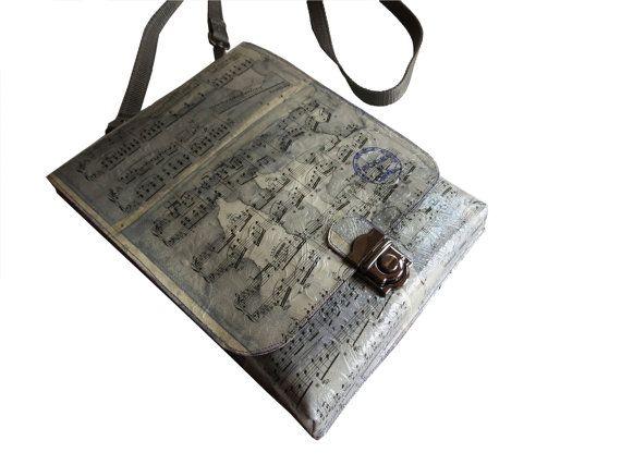 Sheet Music Postman Messenger  Cross over Bag by CeeBeeRecycle