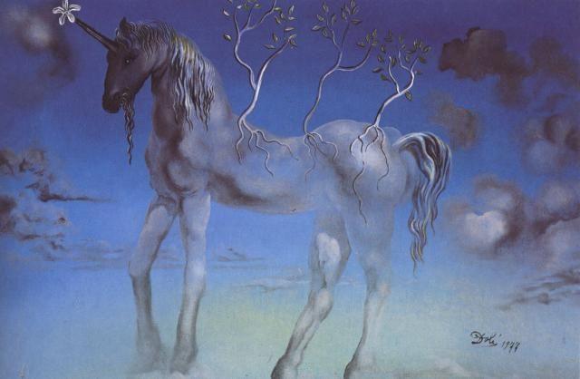 The Happy Unicorn, 1977 • oil on copper plate • 28 x 42 cm • private collection Salvador Dali Art Gallery