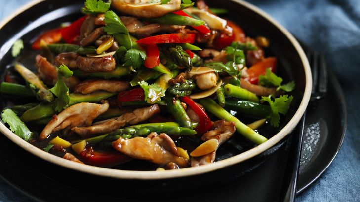 This stir-fry is as simple and as versatile as they come. You can can use lamb, beef, prawns or fish rather than chicken. The asparagus can become beans, corn, zucchini or eggplant. Serve with steamed greens and rice to complete the meal.