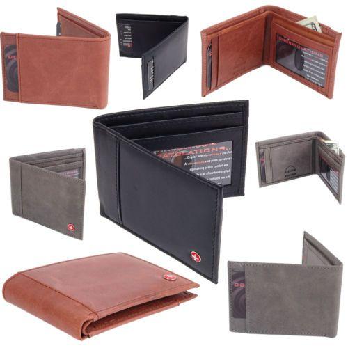 Mens Slim Wallet Bifold Alpine Swiss Billfold Thin Front Pocket Wallet Leather $10.99 www.artofdeals.com