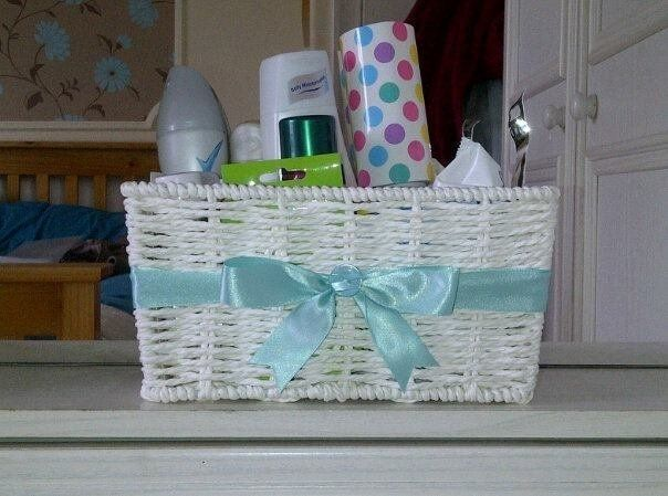 The Ladies Loo Basket!! Love this idea! Ribbon in wedding color!!