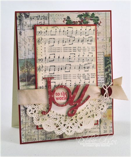 "Lovely Vintage Look ""Joy To The World"" Card...with sheet music paper & a lacy paper doily...Papertrey Ink, September 2013 Release in Review."