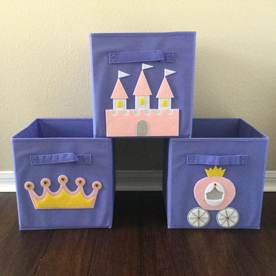 "Set of Three Princess Storage Bins by Sew Freakin' Awesome on Etsy.  Set come with one princess castle bin, one crown bin and one carriage bin.  Fits any Cube Storage Organizer with 11"" cube openings.  Great for organizing kids rooms and playrooms!  What a perfect gift for a baby shower or a child's birthday!  Visit the store for many other great designs!"