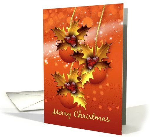 Modern Ornament Christmas Greeting Card In Orange Blends card