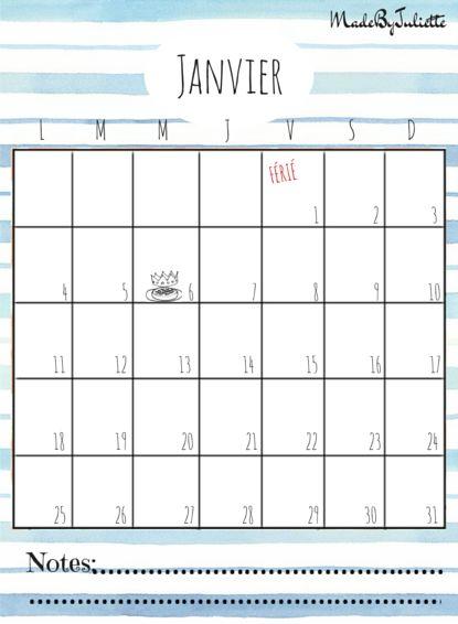 - JANVIER 2016 - Imprimes le calendrier pour customiser ton agenda. A voir: vidéo sur ma chaîne!