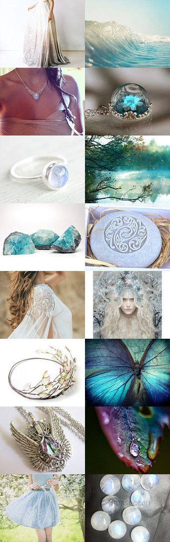 Moonwater Faerie by Viktoria Schuster on Etsy--Pinned with TreasuryPin.com  Inhaling dreams  aqua blue celtic dreamy faerie fantasy floral ice leaf mint moon moonstone moonwater nature ocean water wedding woodland